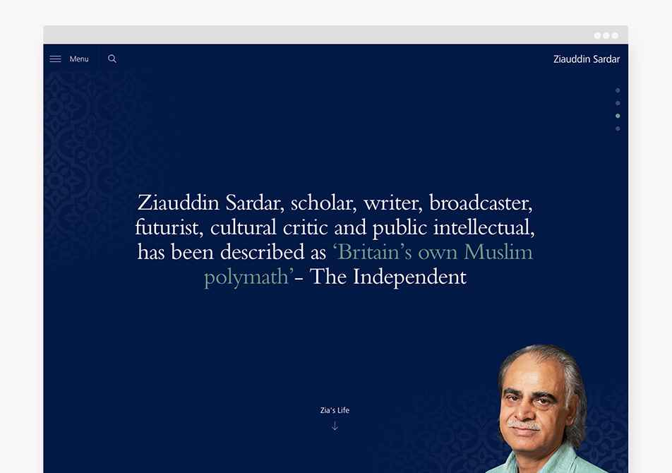 Zia website browser home