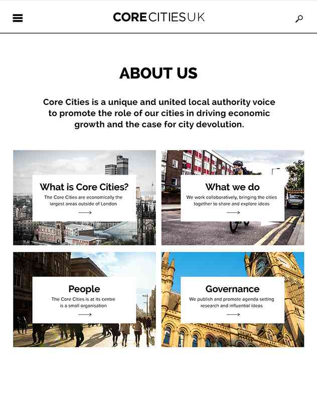 Core Cities tablet designs